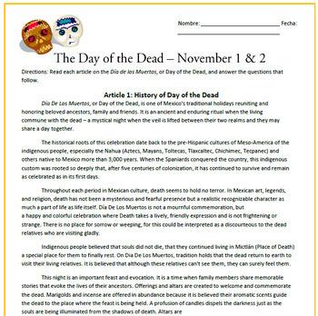 El Dia de los Muertos / Day of the Dead Sub Plan
