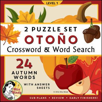 El Otoño: Spanish Autumn Fall Season Vocabulary Word Searc