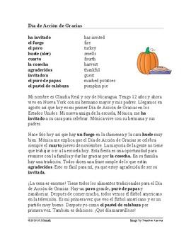 El Día de Acción de Gracias Lectura ~ Thanksgiving Spanish