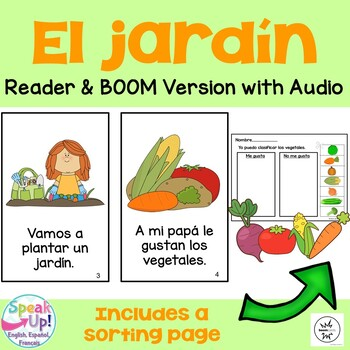 El jardín Spanish Reader, Sorting page & Song {Dual langua
