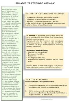 El veneno de Moriana. Spanish romance Reading comprehensio
