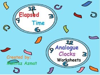 Elapsed Time Analogue Clocks Worksheets :