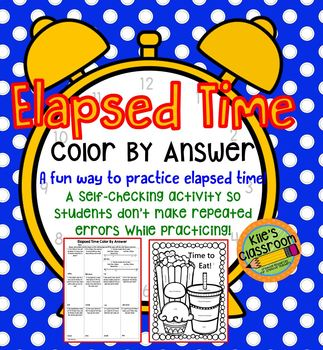Elapsed Time Word Problems Color By Answer-A Self-Checking