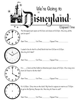 """Elapsed Time Fun Activity """"We're Going to Disneyland!"""""""