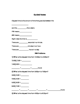 Elapsed Time Guided Notes