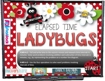 Elapsed Time Ladybugs PowerPoint Game (CCSS 4.OA.5)