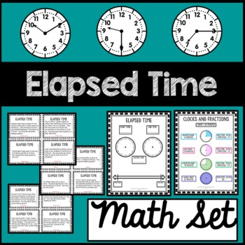 Elapsed Time Math Mat and Task Cards 3rd Grade 4th Grade C