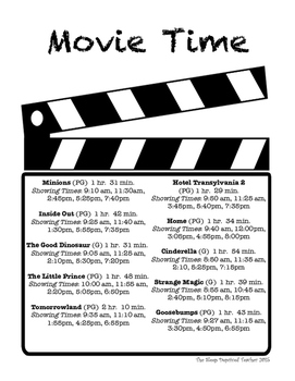 Elapsed Time ~ Movie Time Word Problems