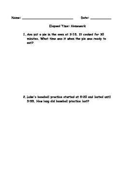 Elapsed Time Problems