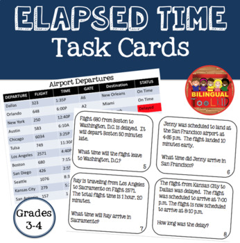 Elapsed Time Task Cards Grades 3-4