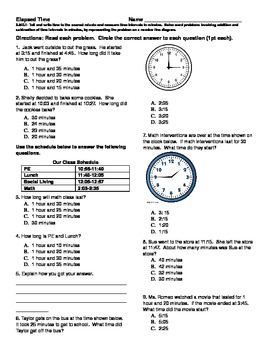 Elapsed Time Test- 3.MD.1