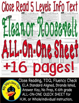 Eleanor Roosevelt Close Read 5 Level Passages ALL-ON-ONE S