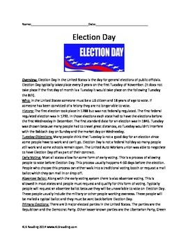 Election Day - Full History - Activities Packet Review Art