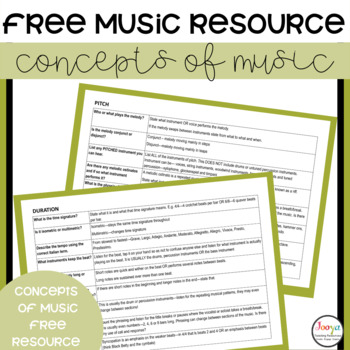 MUSIC: Music Concept Cards for Elective Music Students