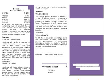 Electives Course Catalog Brochure Template