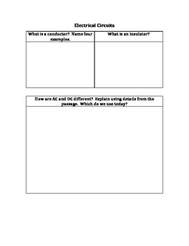 Electrical Circuits Graphic Organizer