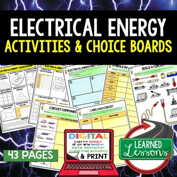 Physical Science Electrical Energy Choice Board Activities