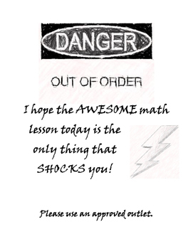 Electrical outlet out of order signs