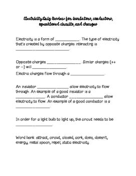 Electricity Basics Quiz Study Guide