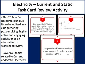 Electricity - Current and Static Task Card REVIEW GAME - U