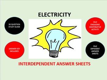 Electricity: Interdependent Answer Sheets Activity