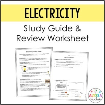Electricity Study Guide and Review Worksheet (SOL 4.3)