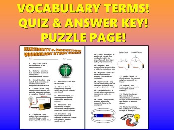 Electricity and Magnetism Vocabulary Quiz (Study Guide and