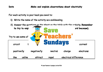 Electricity unit (5 lessons) for 4th to 6th grade