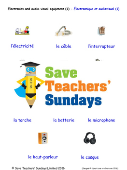 Electronics Equipment 1 in French Worksheets, Games, Activ