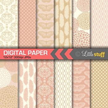 Elegant Blush and Gold Digital Papers