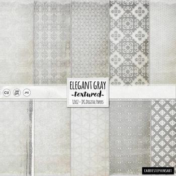 Elegant Silver Digital Paper, Grey Patterned Backgrounds