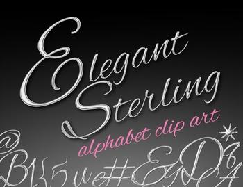 SALE- Elegant Sterling Silver Alphabet Clip Art