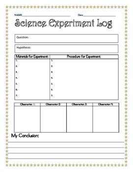 Elem. Science Experiment Log