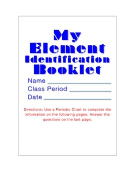 Element Identification Booklet Plus Quiz