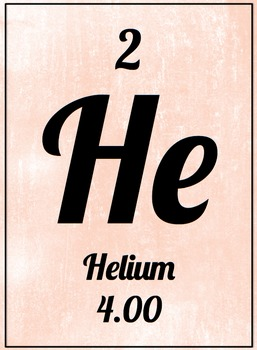 Element Poster - Helium (Pink)