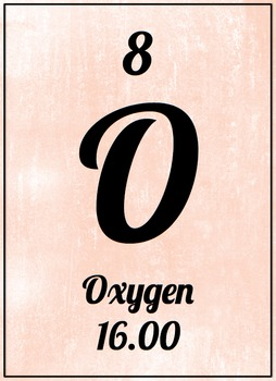 Element Poster - Oxygen (Pink)