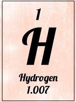 Element Poster - Hydrogen (Pink)