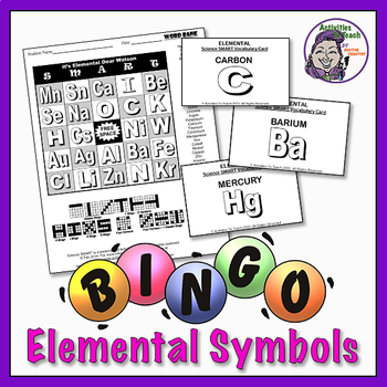 Elemental My Dear Watson Bingo - MS/HS Science Topic Perio