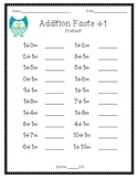 Elementary Addition Facts Assessments