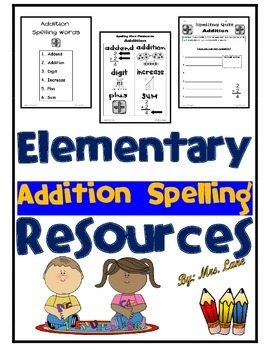 Elementary Addition Spelling Resources