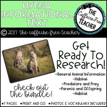 Elementary Animal Research Information- Hyena!