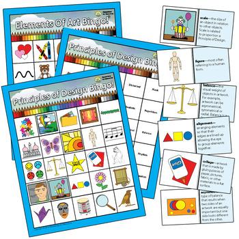 Principles of Design Elementary Visual Art BINGO Education