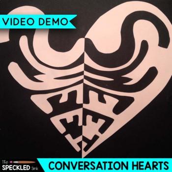 Elementary Art Lesson. Notan Conversation Hearts. Positive