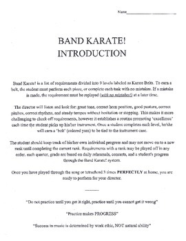 Elementary Band - Band Karate White/Yellow Belt - FREE Download