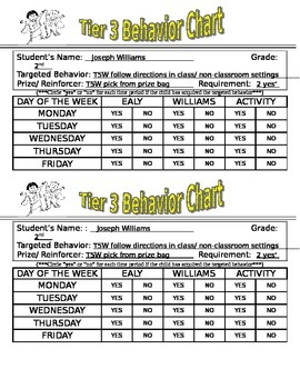 Elementary Behavior Chart