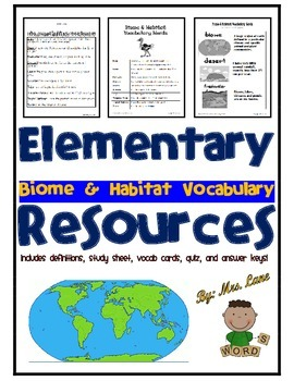 Elementary Biome and Habitat Vocabulary Resources