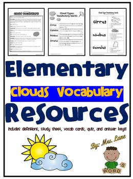 Elementary Clouds Vocabulary Resources