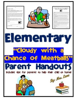 """Elementary """"Cloudy with a Chance of Meatballs"""" Parent Hand"""