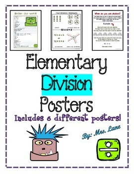 Elementary Division Posters (Includes 6 Different Ready-To