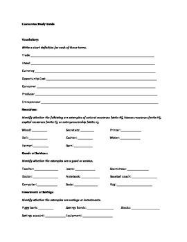 Elementary Economics Study Guide and Quiz Bundle